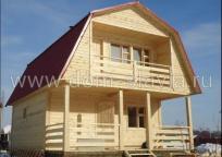 Дом из бруса 6х8м с открытой террасой и балконом.